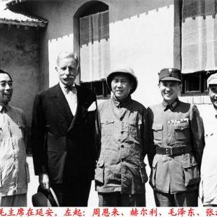 1945年8月毛主席、朱德、周恩来在延安与赫尔利、张治中合影
